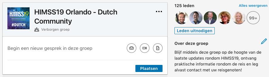 HIMSS19 Dutch Community LinkedIn Screenshot