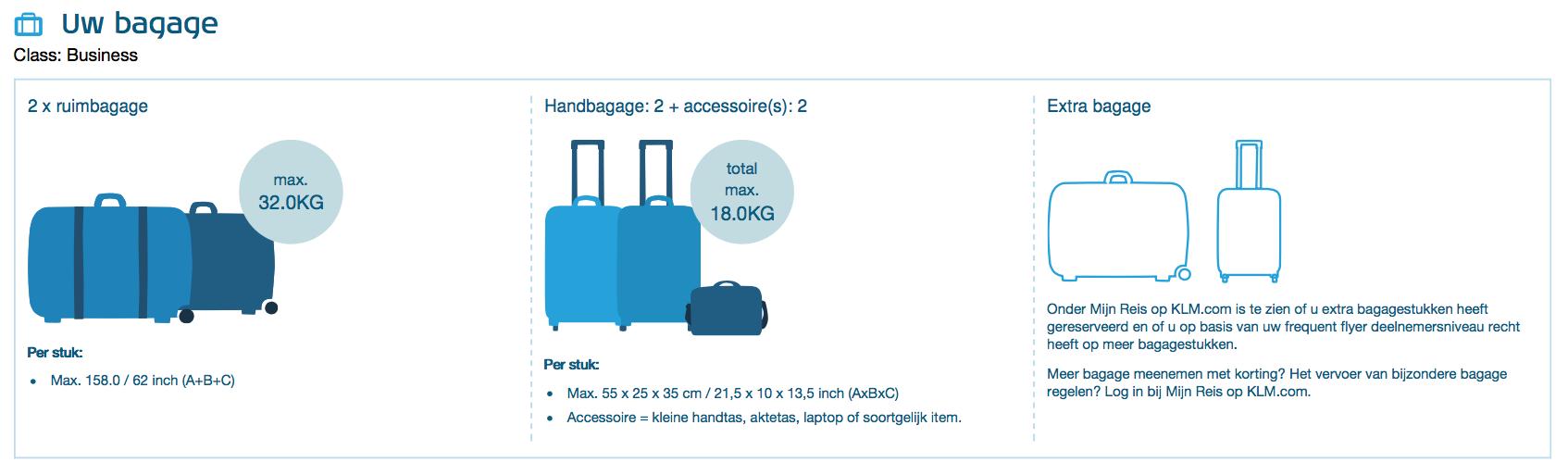 KLM Business class - Bagage informatie