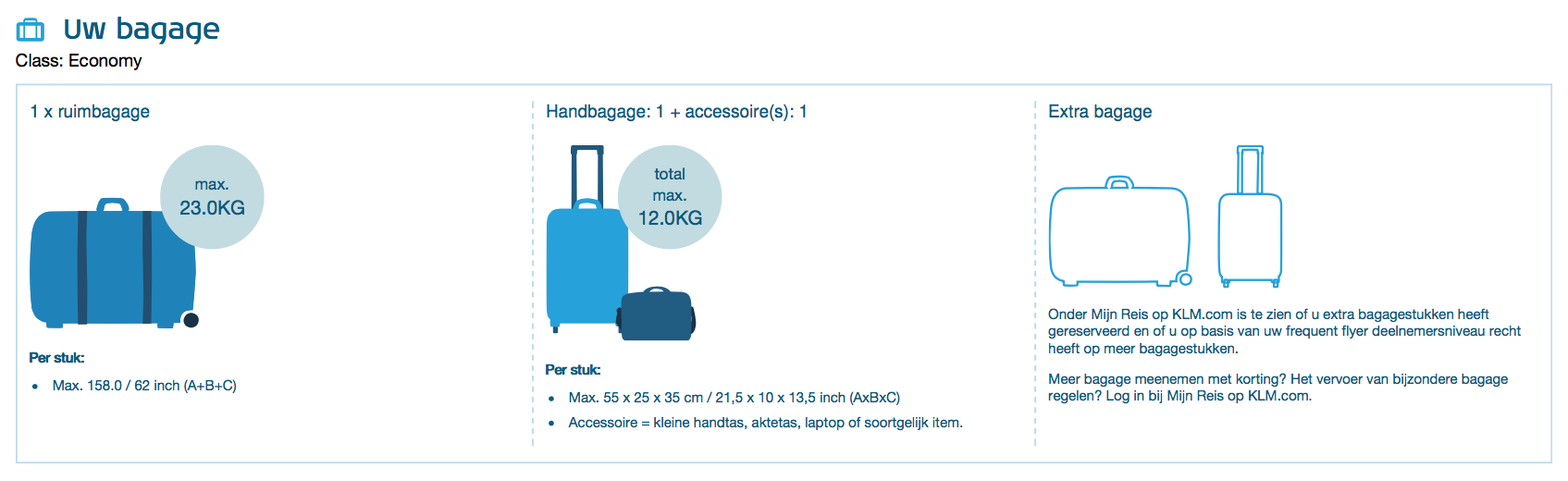 KLM Economy class - Bagage informatie